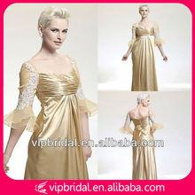 Stunning elegant golden satin floor length evening dress 3/4 sleeves