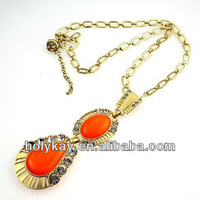 luxury new modal bubble necklace fashion coral resin pendant crystal necklace Egypt gold chian jewelry