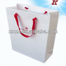 Popular Cheap White Paper Shopping Bag with Ribbon Handles Factory Direct Sale Paper Bag