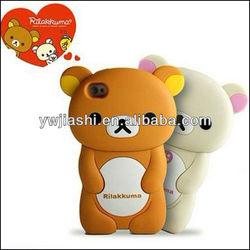 Hot Sale 3D Rilakkuma Bear Eco-friendly Silicone Phone Case for 4/4s