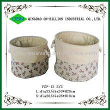 Decorative mini canvas basket with handles