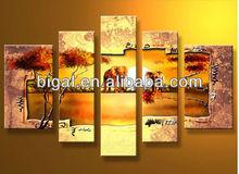 5 piece handmade african elephant oil painting on canvas