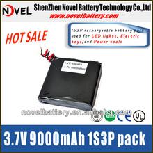 3.7V 9000mAh 506971 1S3P Full high capacity Li-polymer battery pack for LED PDA All digital prouduct Back up power