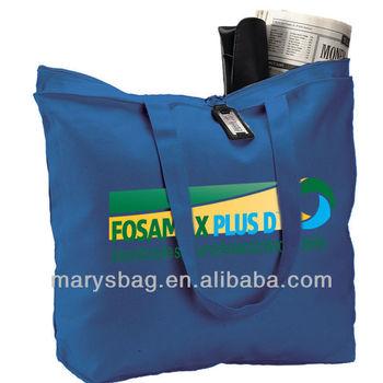 zipper tote bag of 12 oz. canvas.Full length top inside zippered pocket