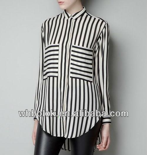 elegante señoras blusa de gasa raya diseño bolsillos grandes para 2013