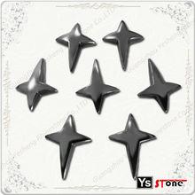 wholesale hot fix Gun metal colour cross glue on studs for shoes bags decorative