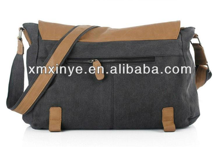 2013 new arrvial men canvas messenger bag shoulder bag with PU leather flap decoration