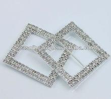 Square Chair Sash Ribbon Slider Silver Tone Diamante Rhinestone Buckle 50 mm