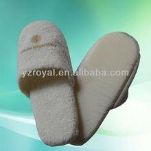 White coral fleece slipper with thick sponge sole