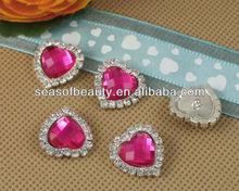 Rhinestone Rose Acrylic Gem Silver Heart Button Embellishments DIY Jewelry