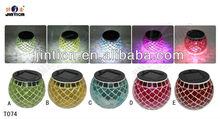 Outdoor Garden Solar Mosaic Glass Decor Landscape Light Lamp