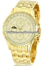 2013 fashion design dress watch chronograph gold tone watches for women