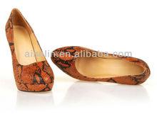 2013 sell well sexy mature high heel models snake print high heels brown colour