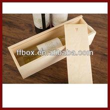 Single Bottle Pine Wood Unfinished Wine Box With Sliding Lid