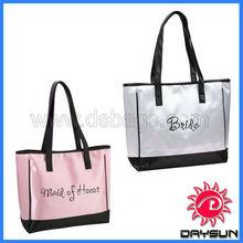 Fashion satin silver black tote bag, tote bags manufacture