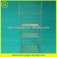 4 tier folding metal wire display shelf for food