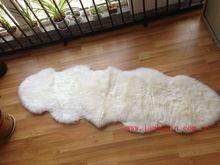 Genuine Soft Wool 100% Natural Double Sheepskin Rug Creamy White
