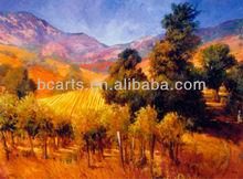 Main peinture à l'huile paysage du sud Vineyard Hills et arbres