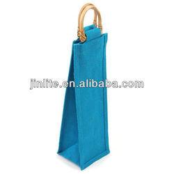 wooden handles jute wine bag for 1 bottle