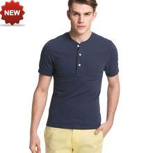 wholesale men's crewneck short sleeve plain cotton t shirt henley shirt with buttons
