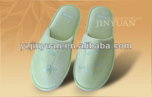 Poly terry closed toe disposable house/hotel slippers green(hot)