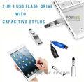 2-in-1 unidade flash usb com caneta capacitivo/2014 usb pen drive- powise