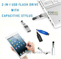 2-in-1 unidade flash usb com caneta capacitivo/2014 usb pen drive- powise
