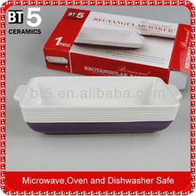 12.5 pulgadas de cerámica rectangular pastel pastel de placa de cocción