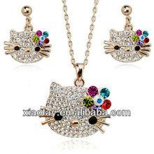 Crystal Hello Kitty Jewelry, Fashion Hello Kitty Charm Jewelry Set