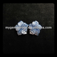 Carved Blue Lace Agate Flower Cabochon Pair