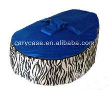 Baby Bean Bag / Snuggle Bed - Zebra Stripe Base / Royal Blue top
