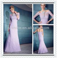 YED10047 Boat neck Mermaid beaded lace Pleated taffeta Purple long sleeve muslim evening dress 2012