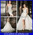 Elegante we-0012 un hombro con cuentas nuevo modelo 2015 de la boda vestido de falda desmontable