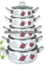 Glass cover bakelite handle Casserole Enamel Cookware set