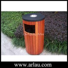 Stand up ashtray wood garbage bin (Arlau BW42)