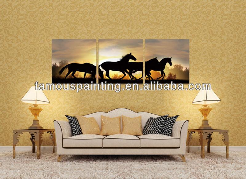 Hot vender tríptico animado cavalos Running pinturas