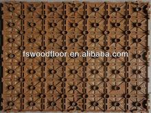 Outdoor Wood Garden Tiles Interlocking Plastic Base