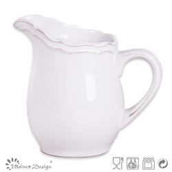 white emboss ceramic pitcher