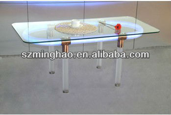 acrylic led furniture table with glass table top