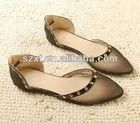 Attractive design women's transparent shoes rivet flat sandals 2014