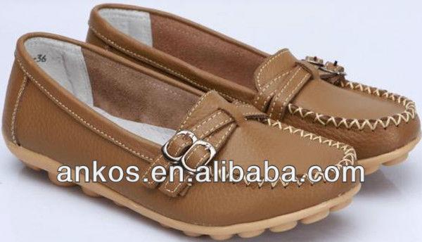 2015 Fashion hot sale ladies shoe wholesale flat leather women shoes
