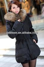2013 black fur collar down women jacket