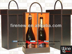 Wine carrier box for 2 bottles with top handle