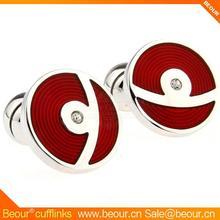 Cufflinks ZB1282 - Circular Epoxy Red Cuff Links - Cufflink Manufacturer,pearl cufflinks
