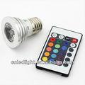 E27 3w rgb led multicolor 16 que cambia de color luz de la lámpara bombilla + ir mando a distancia/spotlight