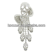 Large Crystal Skull Swirl & Tassel tara brooch