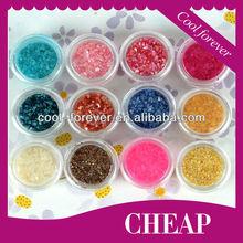 12 Coloured Popular Shell Powder 3D Nail Art Decoration