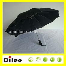 metal frame and ribs black fabric 10 ribs three foldable umbrella