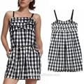 Volants buste dames coton à carreaux robe mini slip robe pour l'été