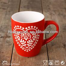 red color Valentine's design crockery ceramic stoneware milk mug